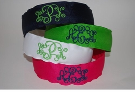 embroidered headband 3-letter scroll