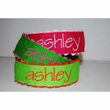 embroidered name headband with ric rac