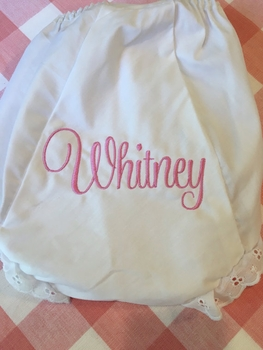 embroidered name monogrammed bloomers diaper cover panty