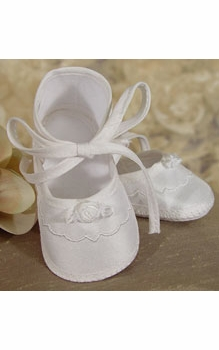 embroidered & pearled silk christening gown