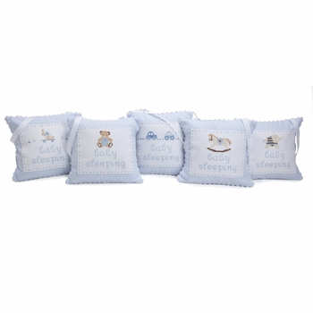 embroidered personalized hanging door pillow - blue
