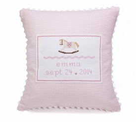 embroidered pink baby rocking horse pillow