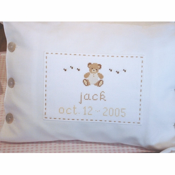 embroidered pique teddy bear pillow