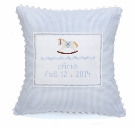 embroidered rocking horse pillow