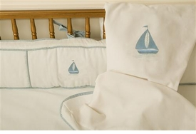 embroidered sailboat crib bedding
