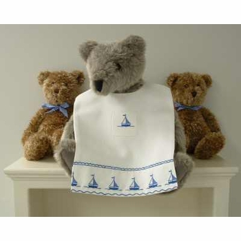embroidered sailboats bib by sweet william