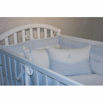 embroidered sailboats crib linens
