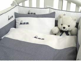 embroidered train crib bedding