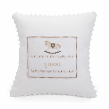 embroidered white baby rocking horse pillow