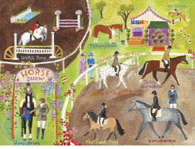 english horse show wall art