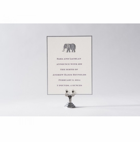engraved elephant baby announcement - andrew hamm