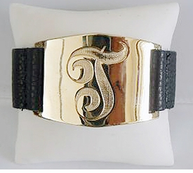 engraved single initial leather cuff bracelet