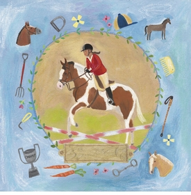 equestrian champion on blue wall art