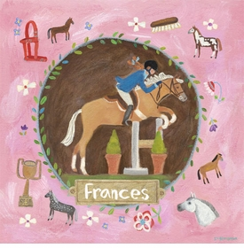 equestrian champion on pink wall art