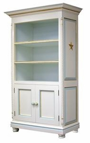 evan bookcase - linen/blue & gold star moulding
