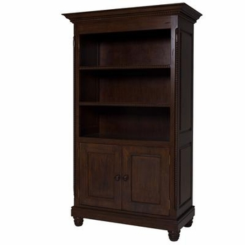 evan bookcase with doors -  french walnut