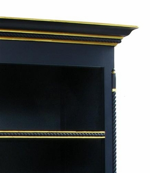 evan open bookcase - black with gold gilding