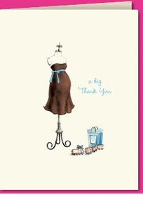 expecting dress form blue thank you (set of 10)