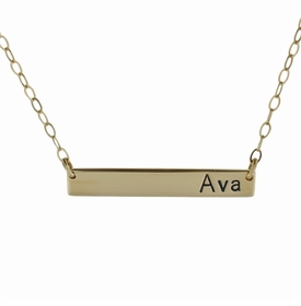 "extra long 14k gold name plate necklace - 1.25"" or 1.5"""