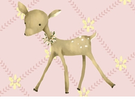 fancy fawn on powder pink wall art canvas reproduction
