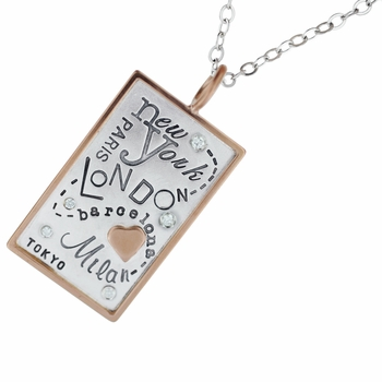fashion cities silver & rose gold necklace