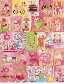 favorite things alphabet - girl wall art