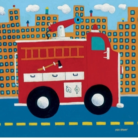 fire truck - wall art by max grover