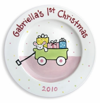 first christmas personalized plate (girl)