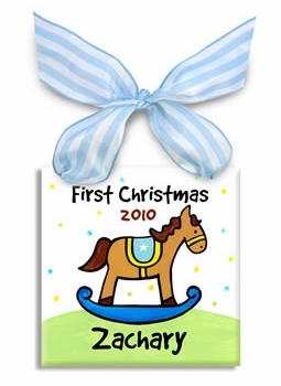 first christmas rocking horse ornament (boys)