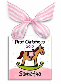 first christmas rocking horse ornament  (girl)