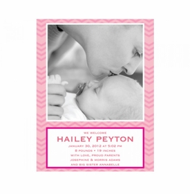 flat print baby announcement - baby waves pink