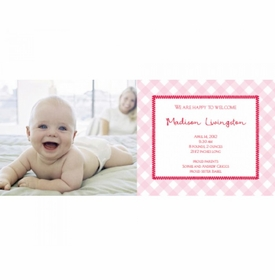 flat print baby announcement - gingham pink
