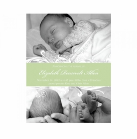 flat print baby announcement - green elegance