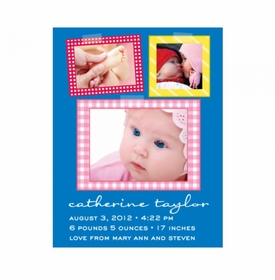 flat print baby announcement - patchwork quilt pink