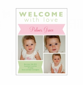 flat print baby announcement - pink ribbon