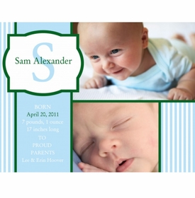 flat print baby announcement - sweet stripes blue