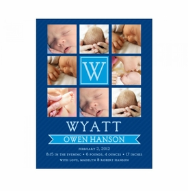 flat print baby announcement - window panes blue