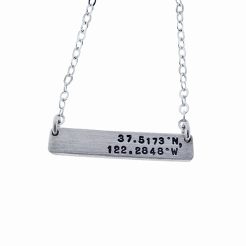 flat rectangle charm necklace