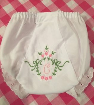 floral pink and green wreath bloomers