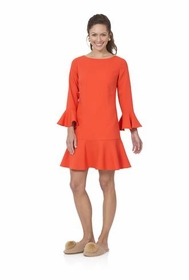 flounce dress - tomato red