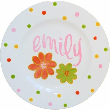 flower dot personalized ceramic plate