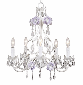 flower garden chandelier in lavender & white