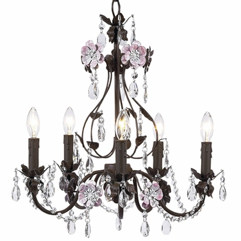 flower garden chandelier in mocha & pink