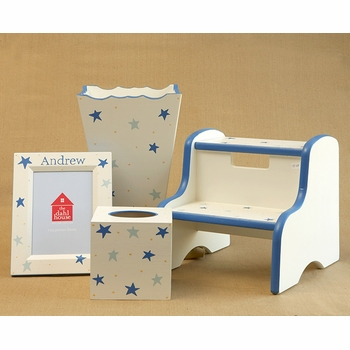 frame, waste basket, and tissue box  - stars
