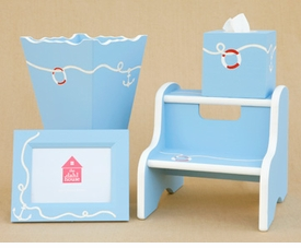 frame, waste basket, tissue box and step stool set - anchor