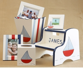 frame, waste basket,  tissue box & kids step stool  - sailboat (blue)
