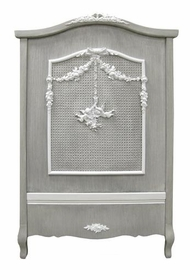 french panel crib - caning & moulding -  (dior grey)