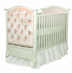 French Panel Upholstered Crib Antico White