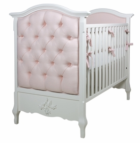 French Panel Upholstered Crib Antico White Pink