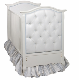 French Panel Upholstered Crib White